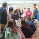 Ron Kennedy discussing poverty and music with Notre Dame students